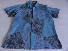 Parang Kencana Thai Silk Shirt Men's L Blue All Silk Thailand