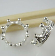 10847 20PCS Silver Tone Round Crown Ring Connector Pendant Jewelry Finding