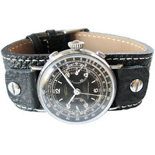 17mm Fluco Vigo Wide Black Riveted Leather Military Cuff German Watch Band Strap