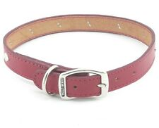 "HAMILTON Diamond Studded Stitched Leather Dog Collar, 22"" x 1"", Red"