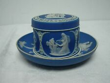 ANTIQUE WEDGWOOD DARK BLUE JASPERWARE COVERED TRINKET BOX w UNDERPLATE