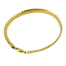Luxury 5 mm width 18 k Gold Plated Unisex Bracelet for Men Women Jewellery BB118