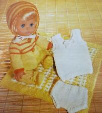 "Knitting Pattern 12-14""Baby Dolls Clothes Vest Pant Legging Coat Bonnet C6062"