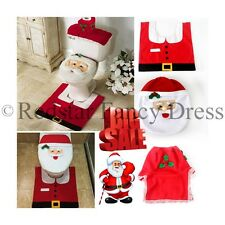 CHRISTMAS DECORATION BATHROOM SUITE SET 3PC TOILET COVER RUG PACKAGE SANTA HAT
