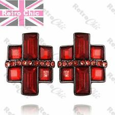 MODERNIST square RHINESTONE STUD EARRINGS big studs RED/BLACK gunmetal GEOMETRIC