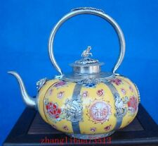 Antique Collectible Handmade Silver & Porcelain Inlaid Teapot yellow Art Deco