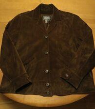 Ralph Lauren Suede Leather Jacket Women's Plus 1X Brown Lined
