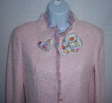 NWT Chanel Pink Boucle' Suit Jacket Matching Skirt Ice Cream Cones 36