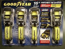 "Lot of 4 Goodyear Heavy Duty 16 FT 1-1/2"" Nylon Ratchet Tie Down Straps w/Bonus"
