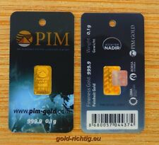 Goldbarren 0,10 Gramm PIM (Gold Barren 0,1g 0,10g 999,9 Feingold) NEUES DESIGN