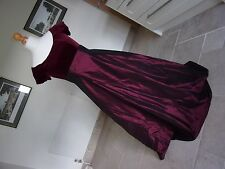 Stunning MONSOON Ladies Burgundy Velvet & Satin Long Evening Dress size 12