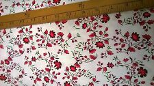 red ditsy floral viscose lycra Jersey Fabric by the metre
