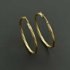 18K YELLOW GOLD 2X30MM HIGH POLISHED TWISTED ROUND HOOP EARRINGS