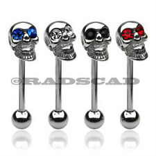 4 x SKULL ON TONGUE BAR RING WHOLESALE PIERCING 14G black blue red clear A67
