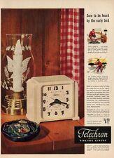 1948 Telechron Electric Clock Telalarm  fishing theme PRINT AD