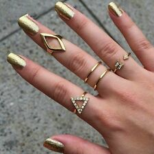 Women Arrow  Ring Triangle Joint Knuckle Ring Set of 5 Rings