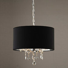 Modern Black Drum Shade Crystal Beaded Pendant Light 3 Light Chandelier Celing