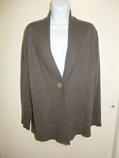 JONES NEW YORK 100% CASHMERE GRAY BROWN TINT V-NECK 1BUTTON CARDIGAN SWEATER M/L