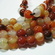 "Carnelian Agate 12mm Round Large 4mm Hole Beads 8"" Leather Chain Wrap Jewelry"