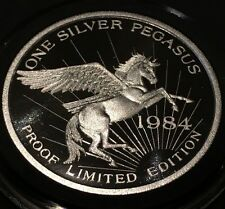 1984 Proof Pegasus Gold Corp Zortman Landusky Mine 1 Troy Ounce .999 Fine Silver