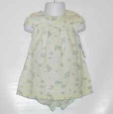 Carter's Infant Girls Empire Waist Floral Dress & Panty Set Pale Green 12M NWT
