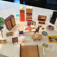 VINTAGE DOLLS HOUSE LOT OF FURNITURE ACCESSORIES LUNDBY DOL TOI BARTON BRITAINS