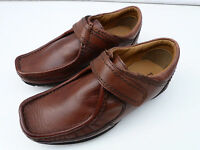 BOYS Ex MARKS & SPENCER AUTOGRAPH BROWN LEATHER VELCRO CASUAL SCHOOL SMART SHOES