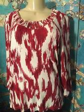 CHICO'S 1 RED/IVORY PAINTBRUSH DESIGN ROUND BRAIDS NECK 3/4 SLEEVE PULL-OVER TOP