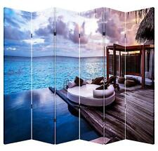 6 Panels 6ft Tall Canvas Double Sided Folding Screen Room Divider- Ocean Balcony
