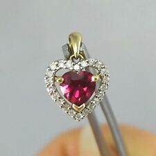 LAVISH Solid 10k Gold REAL 1/4ctw DIAMOND Halo 1.5ct Ruby Heart Necklace Pendant