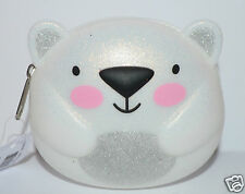 BATH & BODY WORKS WHITE POLAR BEAR ZIP UP COIN PURSE LIP GLOSS BAG HOLDER MAKEUP