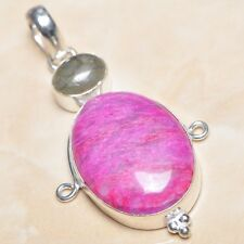 "Handmade Cherry Ruby Natural Gemstone 925 Sterling Silver Pendant 2.25"" #P03345"