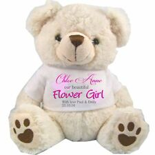 PERSONALISDED FLOWER GIRL TEDDY BEAR WHITE PINK TEXT WEDDING ANY OCCASION GIFTS