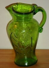 "American Eagle Green Glass Pitcher 6.75""H"