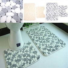 2 Pieces Cotton Bath Pedestal Mat Toilet Non Slip Washable Floor Rugs Sets New