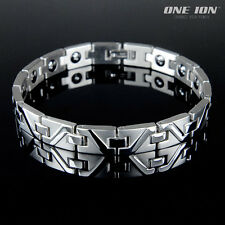 ONE ION Wave Shine Magnetic Stainless Steel Ion Balance Bracelet