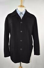 ERMENEGILDO ZEGNA 100% Cashmere BLACK Car Coat Jacket XL 54 Made in Italy MINT!