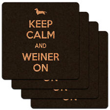 Keep Calm And Weiner On Dachshund Dog Low Profile Cork Coaster Set