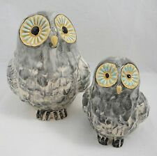 "Set of 2 Ceramic Gray Snowy Hoot Owl Mama and Baby Bird Figurines 6"" and 4.5"""