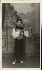Child in Costume Playing Banjo Real Photo Postcard c1920s