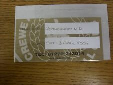 03/04/2004 Ticket: Crewe Alexandra v Rotherham United [Gold www.crewealex.net] .