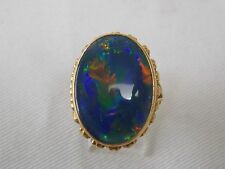 Vintage Black Opal Doublet Fashion Ring in 18K Yellow Gold