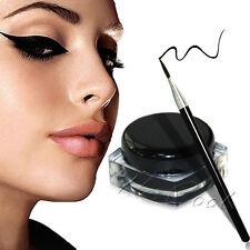NEW Waterproof Black Eye Liner Eyeliner Shadow Gel Makeup Cosmetic + Brush UK