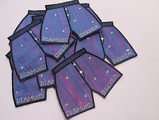 Pack of 10 - Purple Blue Diamond Geezer Shorts Card Making Motif Badge #7E30