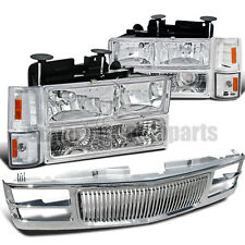1994-1998 C10 C/K Suburban Pickup Headlight Clear W/ Bumper+Corner+Chrome Grille
