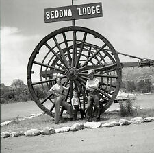 Sedona Lodge Arizona Family Posing with Giant Wheel - c1950s - Vtg B&W Negative