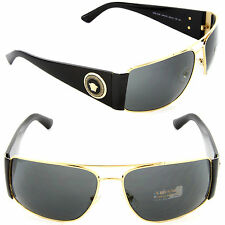 Versace VE 2163 1002/87 Rectangle Sunglasses Gold /Grey Lens