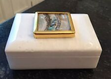 White Marble Jewelry Trinket Box With Mother Of Pearl Shell