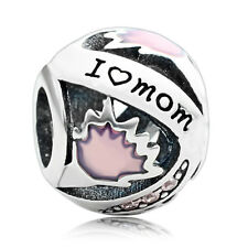 925 sterling silver I love Mom Mum Mother Bead Pink Enamel European Charm Bead