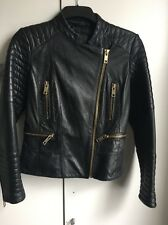 Mango Real Leather Black Jacket